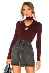 Bailey 44 Cat Track Cut Out Turtleneck Top Burgundy