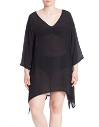 J Valdi Plus Breezy Asymmetrical Hem Coverup Black