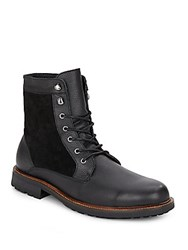 Saks Fifth Avenue Kramer Leather And Suede Boots Black