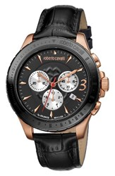 Roberto Cavalli Men's Franck Muller By Chronograph Leather Strap Watch 43Mm Black Rose Gold