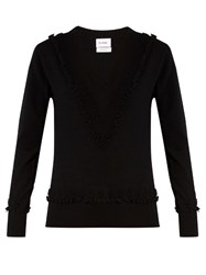 Barrie Romantic V Neck Cashmere Sweater Black