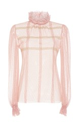 Luisa Beccaria Tulle And Lace Long Sleeve Blouse Pink