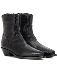 Dolce And Gabbana Snakeskin Ankle Boots Black