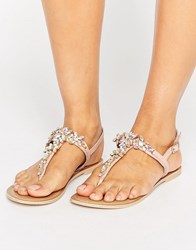 Faith Jiles Embellished Flat Sandals Pink