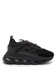 Versace Chain Reaction Mesh And Suede Trainers Black