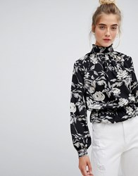 Parisian High Neck Floral Blouse Black Floral Multi