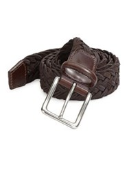 Saks Fifth Avenue Collection Braided Suede And Cotton Belt Brown