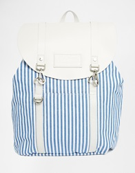 Jack Wills Blue Stripe Canvas And Leather Backpack Bluewhitestripe