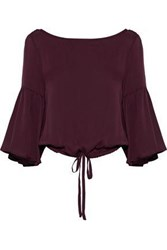 Milly Lydia Bow Detailed Stretch Silk Blouse Burgundy