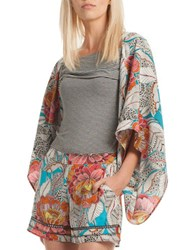 Trina Turk Floral Printed Open Front Silk Jacket Multi