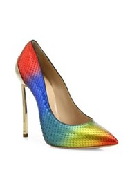 Casadei Rainbow Python Point Toe Pumps