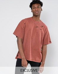 Reclaimed Vintage Oversized T Shirt In Overdye And Distressing Rust Red