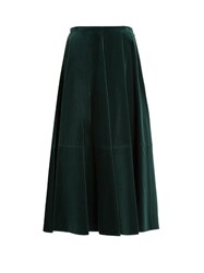 Maison Martin Margiela High Waisted Cotton Velvet Full Skirt Green