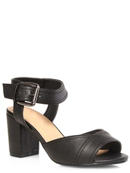 Evans Extra Wide Fit Black High Block Heel Sandals