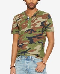 Denim And Supply Ralph Lauren Camo Print Short Sleeve Henley Green