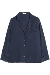 Equipment Femme Washed Silk Pajama Top Navy