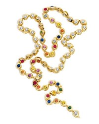 Tamara Comolli Multicolor Sapphire And Diamond Paisley Necklace In 18K Gold