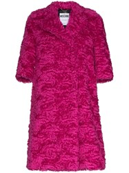 Moschino Mid Sleeve Faux Fur Mohair Blend Coat Pink
