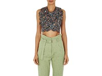 Isabel Marant Women's Pasco Bonded Leather Crop Top Navy No Color