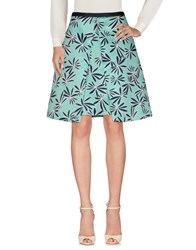 1 One Knee Length Skirts Turquoise