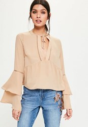 Missguided Nude Ladder Trim Flare Sleeve Blouse