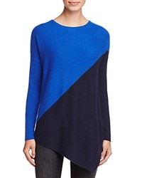 Bloomingdale's C By Cashmere Asymmetric Colorblock Sweater 100 Exclusive Lapis With Dark Navy