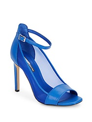 Bcbgeneration Natalee Leather And Mesh Open Toe Pumps Blue