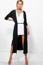 Boohoo Jessica Belted Jersey Duster Black