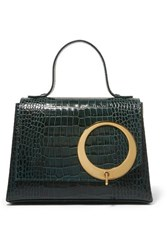 Trademark Harriet Croc Effect Leather Tote Dark Green