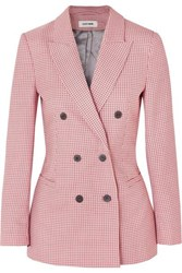 Cefinn Double Breasted Houndstooth Wool Blend Blazer Pink
