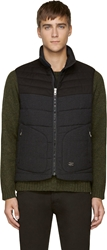 Rag And Bone Charcoal Grey Quilted Wool Stride Vest