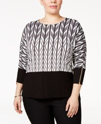 Calvin Klein Plus Size Printed Dolman Sleeve Top Black White Floral
