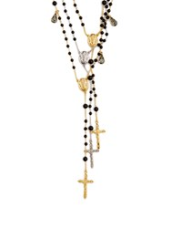 Dolce And Gabbana Triple Strand Rosary Necklace Black
