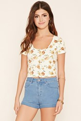 Forever 21 Buttoned Floral Crop Top