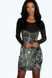 Boohoo Halloween Glow In Dark Spider Bodycon Dress Black