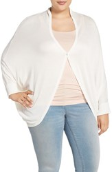 Plus Size Women's Melissa Mccarthy Seven7 One Button Oval Cardigan White