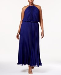 Msk Plus Size Pleated Halter Gown Midnight