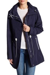 Jessica Simpson Polybonded Jacket With Hidden Hood Blue