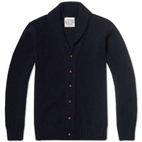Jamiesons Of Shetland Jamieson's Of Shetland Elbow Patch Shawl Collar Cardigan Dark Navy