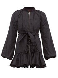 Giambattista Valli Ruffle Trim Down Padded Bomber Jacket Black
