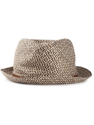 Giorgio Armani Braided Trilby Hat Brown