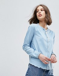 Pepe Jeans Embroidered Shoulder Tassel Blouse Blue