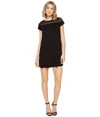 Brigitte Bailey Lova Short Sleeve Dress With Lace Detail Black Women's Dress