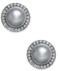 Danori Hematite Tone Pave And Gray Imitation Pearl Stud Earrings Created For Macy's Rhodium