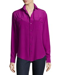 Ralph Lauren Long Sleeve Button Front Shirt Berry Pink Women's
