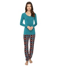 Josie Solstice Long Sleeve Pj Set Red Jasper Women's Pajama Sets