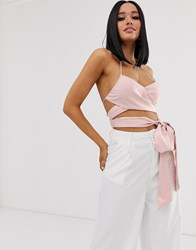 Lioness Wrap Front Corset Top In Pink