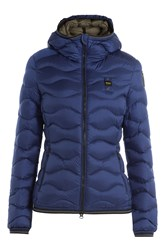 Blauer Wave Quilted Down Jacket With Hood Blue