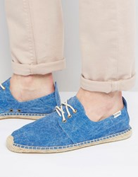 Soludos Derby Lace Up Mesh Espadrilles Blue