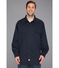 Carhartt Big Tall Twill L S Work Shirt Navy Men's Long Sleeve Button Up